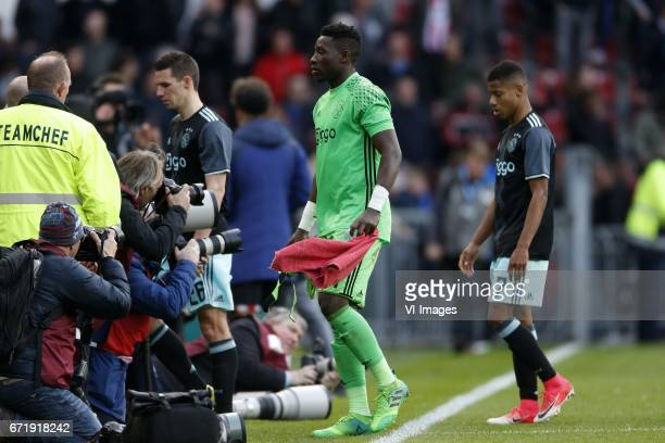 Nick Viergever of Ajax Andre Onana of Ajax David Neres of Ajaxduring the Dutch Eredivisie match between PSV Eindhoven and Ajax Amsterdam at the...