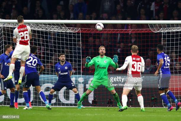 Nick Viergever of Ajax heads on goal during the UEFA Europa League quarter final first leg match between Ajax Amsterdam and FC Schalke 04 at...