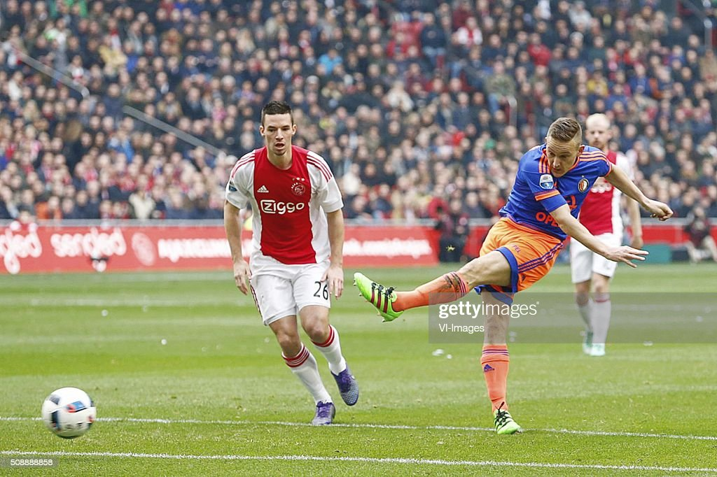 Nick Viergever of Ajax, Jens Toornstra of Feyenoord 0-1 during the Dutch Eredivisie match between Ajax Amsterdam and Feyenoord Rotterdam at the Amsterdam Arena on February 07, 2016 in Amsterdam, The Netherlands