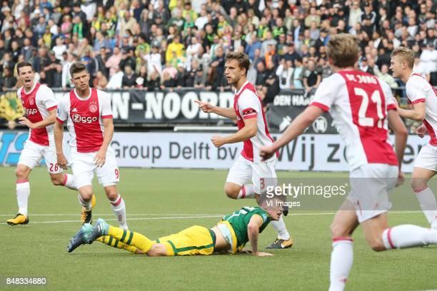 Nick Viergever of Ajax Klaas Jan Huntelaar of Ajax Joel Veltman of Ajax during the Dutch Eredivisie match between ADO Den Haag and Ajax Amsterdam at...