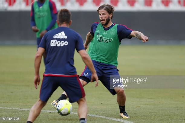 Nick Viergever of Ajax Lasse Schone of Ajax during a training session prior to the third round qualifying first leg match between OGC Nice and Ajax...