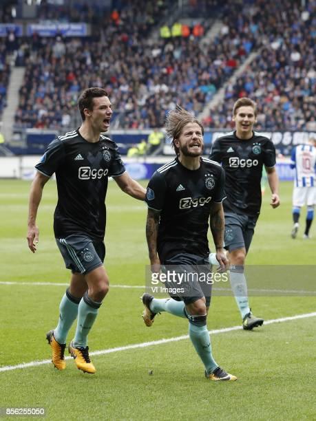 Nick Viergever of Ajax Lasse Schone of Ajax Maximilian Wober of Ajax Martin Odegaard of sc Heerenveen during the Dutch Eredivisie match between sc...