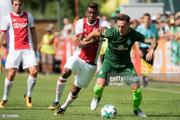 Nick Viergever of Ajax Mateo Cassierra of Ajax Robert Bauer of SV Werder Bremen during the friendly match between Ajax Amsterdam and SV Werder Bremen...