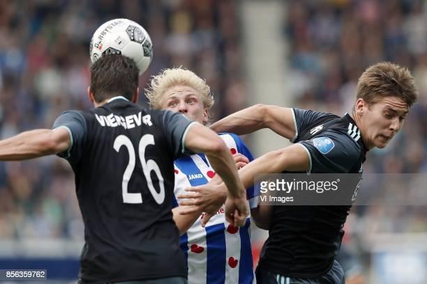 Nick Viergever of Ajax Morten Thorsby of sc Heerenveen Maximilian Wober of Ajax during the Dutch Eredivisie match between sc Heerenveen and Ajax...