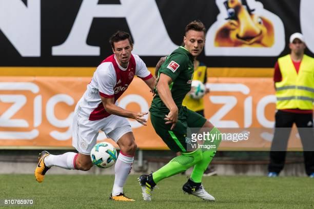 Nick Viergever of Ajax Robert Bauer of SV Werder Bremen during the friendly match between Ajax Amsterdam and SV Werder Bremen at Lindenstadion on...