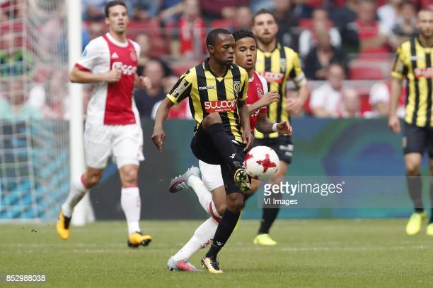 Nick Viergever of Ajax Thulani Serero of Vitesse Justin Kluivert of Ajax Guram Kashia of Vitesse during the Dutch Eredivisie match between Ajax...