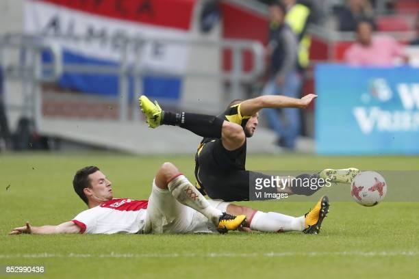 Nick Viergever of Ajax Tim Matavz of Vitesse during the Dutch Eredivisie match between Ajax Amsterdam and Vitesse Arnhem at the Amsterdam Arena on...