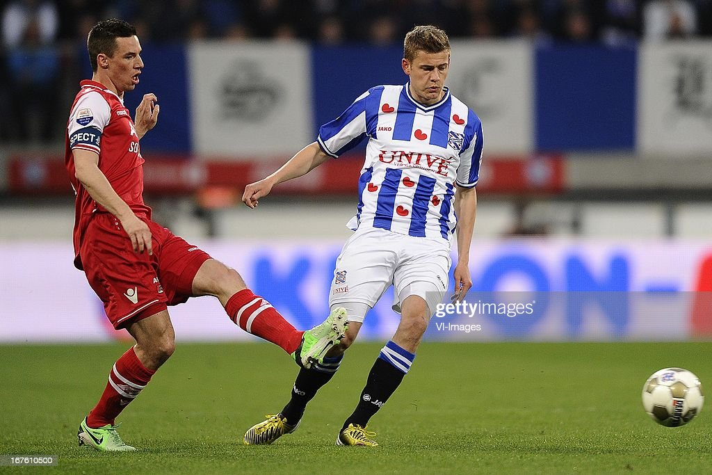 Nick Viergever of AZ, Alfreð Finnbogason of sc Heerenveen, during the Dutch Eredivisie match between sc Heerenveen and AZ Alkmaar on April 26, 2013 at the Abe Lenstra stadium in Heerenveen, The Netherlands.
