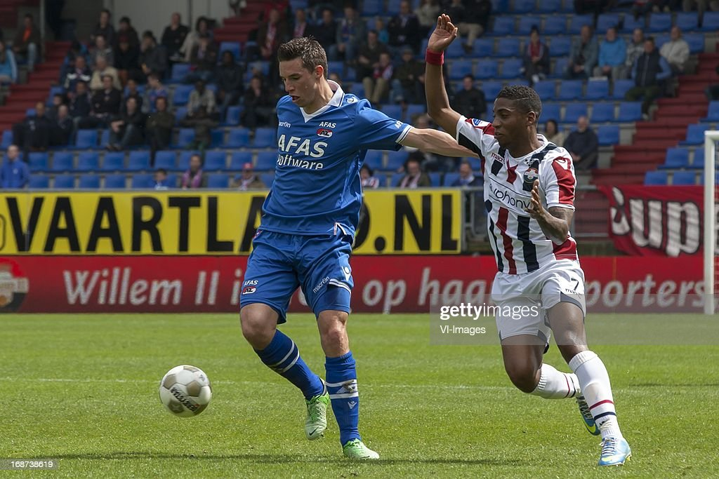 Nick Viergever of AZ , Genero Snijders of Willem II during the Dutch Eredivisie match between Willem II and AZ Alkmaar on May 12, 2013 at the Koning Willem II stadium in Tilburg, The Netherlands.