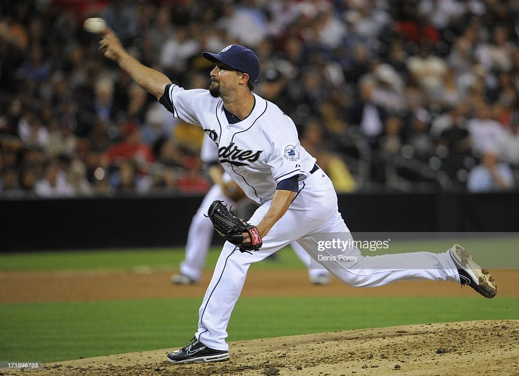 Nick Vincent #50 of the San Diego Padres pitches during the seventh inning of a baseball game against the Philadelphia Phillies at Petco Park on June 26, 2013 in San Diego, California.