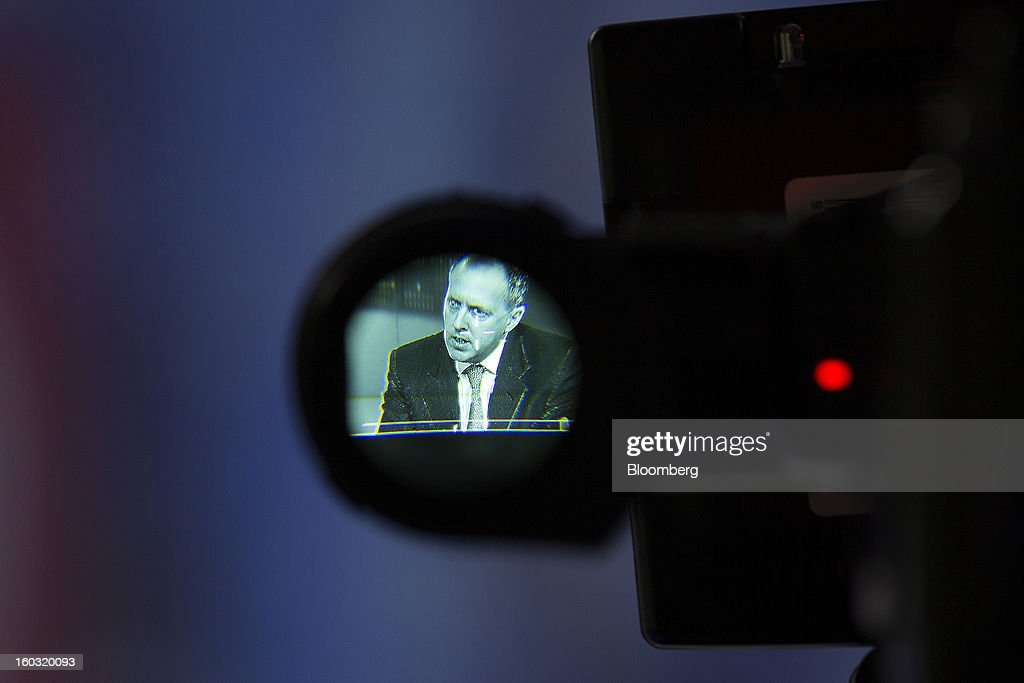 Nick von Schirnding, chief executive officer of Bumi Plc, is seen through a eyepiece of a television camera during a Bloomberg Television interview in London, U.K., on Tuesday, Jan. 29, 2013. Bumi Plc, the coal producer that plunged 69 percent in London trading last year amid a dispute over ownership, said investors should reject a proposal by one of its founders, Nathaniel Rothschild, to regain control. Photographer: Simon Dawson/Bloomberg via Getty Images