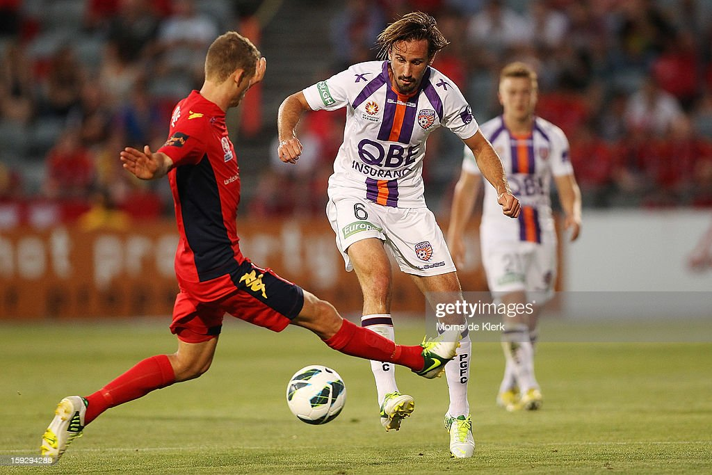 Nick Ward of Perth passes the ball during the round 16 A-League match between Adelaide United and the Perth Glory at Hindmarsh Stadium on January 11, 2013 in Adelaide, Australia.