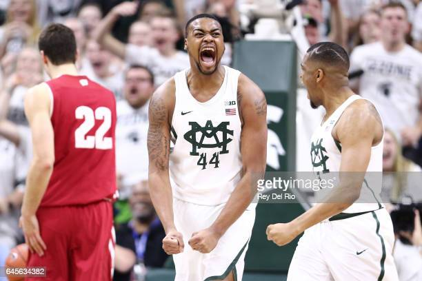 Nick Ward of the Michigan State Spartans celebrates during a game against the Wisconsin Badgers in the second half at the Breslin Center on February...