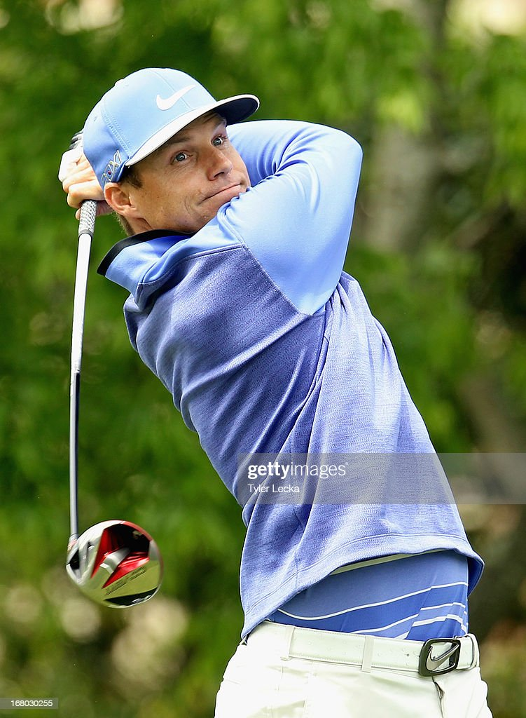 Nick Watney hits a tee shot on the 5th hole during the third round of the Wells Fargo Championship at Quail Hollow Club on May 4, 2013 in Charlotte, North Carolina.