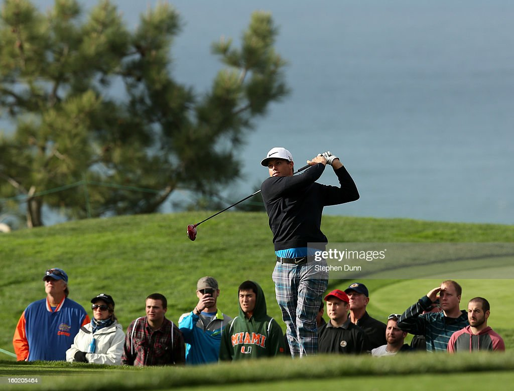 Nick Watney hits his tee shot on the second hole during the final round of the Farmers Insurance Open on the South Course at Torrey Pines Golf Course on January 27, 2013 in La Jolla, California.