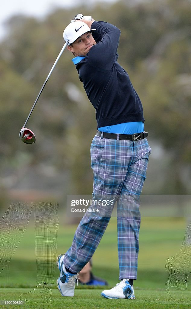 Nick Watney hits off the tee box during the Third Round at the Farmers Insurance Open at Torrey Pines South Golf Course on January 27, 2013 in La Jolla, California.