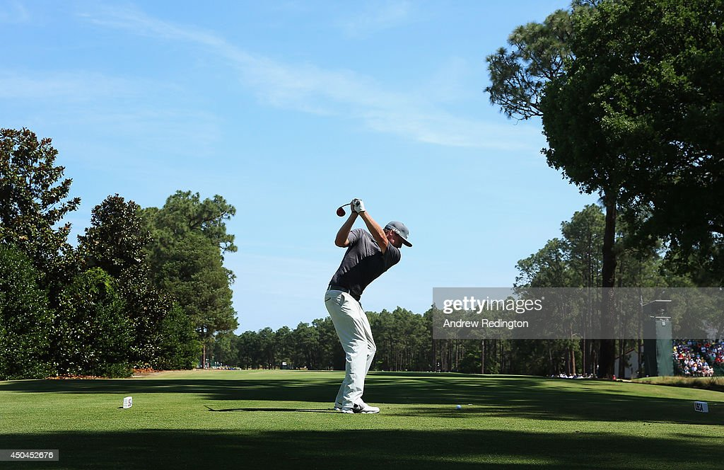 Nick Watney of the United States hits a shot during a practice round prior to the start of the 114th U.S. Open at Pinehurst Resort & Country Club, Course No. 2 on June 11, 2014 in Pinehurst, North Carolina.