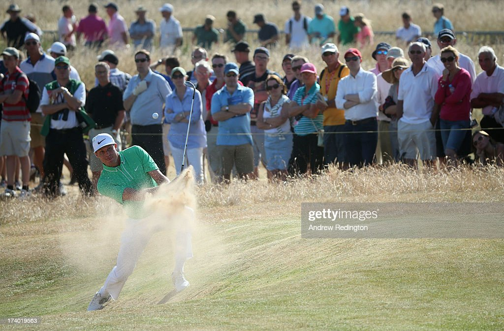 <a gi-track='captionPersonalityLinkClicked' href=/galleries/search?phrase=Nick+Watney&family=editorial&specificpeople=722428 ng-click='$event.stopPropagation()'>Nick Watney</a> of the United States hits a shot on the 10th hole during the second round of the 142nd Open Championship at Muirfield on July 19, 2013 in Gullane, Scotland.