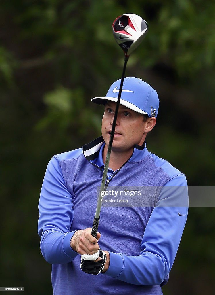 Nick Watney watches his tee shot on the 12th hole during the third round of the Wells Fargo Championship at Quail Hollow Club on May 4, 2013 in Charlotte, North Carolina.
