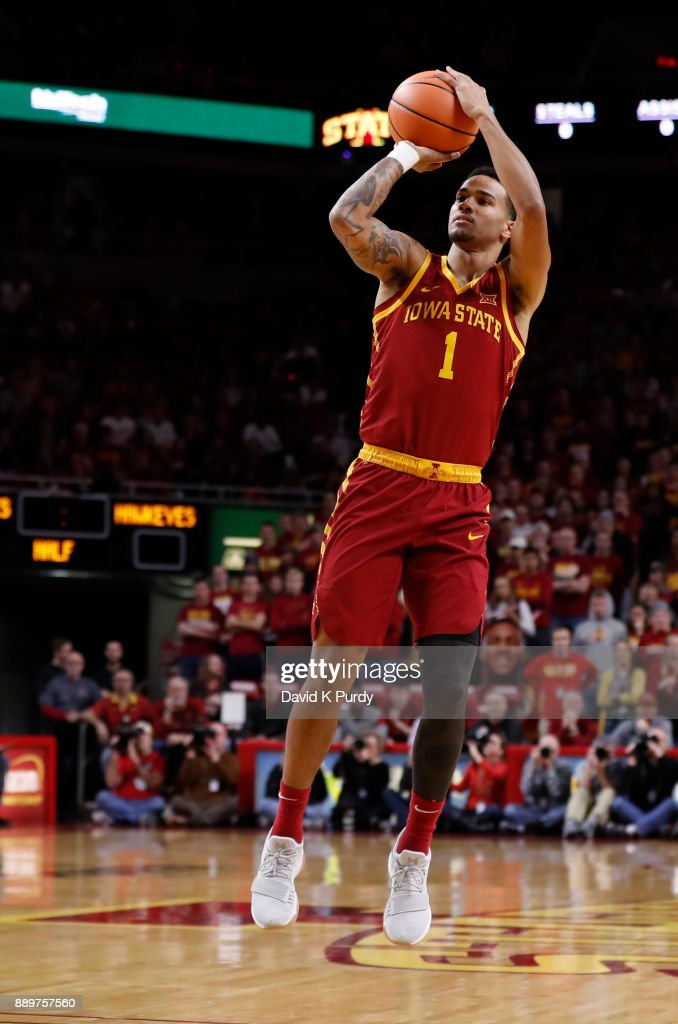 Nick Weiler-Babb #1 of the Iowa State Cyclones takes a three point shot in the first half of play against the Iowa Hawkeyes at Hilton Coliseum on December 7, 2017 in Ames, Iowa.