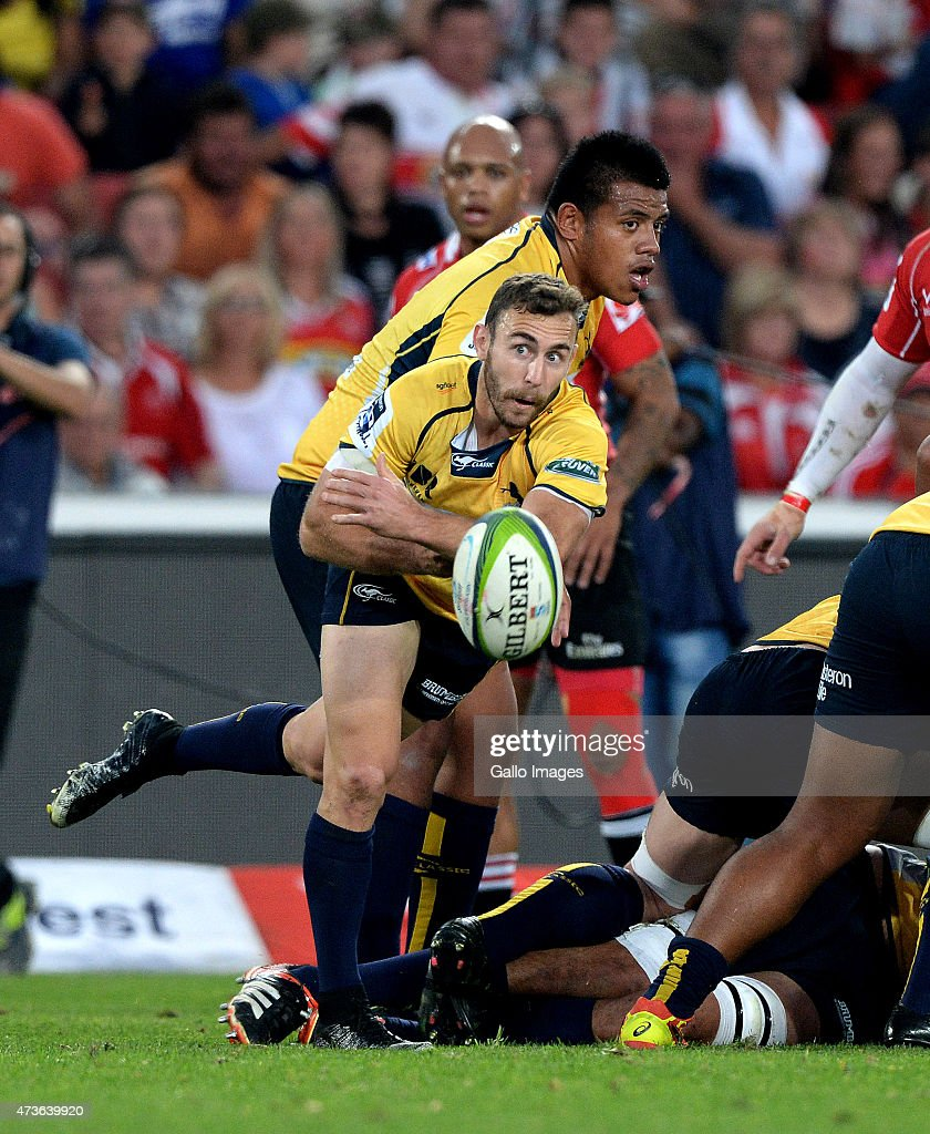 Nick White of the Brumbies passes during the Super Rugby match between Emirates Lions and Brumbies at Emirates Airline Park on May 16, 2015 in Johannesburg, South Africa.