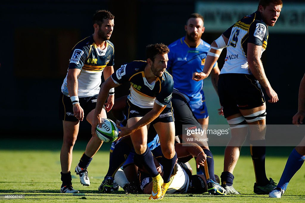 Nick White of the Brumbies passes the ball during the Super Rugby trial match between Western Force and ACT Brumbies at McGillivray Oval on January 23, 2015 in Perth, Australia.