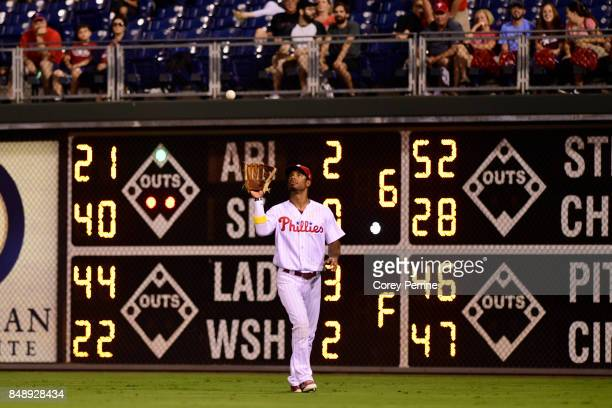 Nick Williams of the Philadelphia Phillies catches an out against the Oakland Athletics in left field during the sixth inning at Citizens Bank Park...