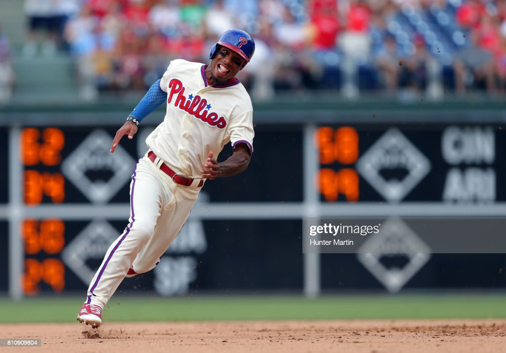 Nick Williams #5 of the Philadelphia Phillies runs to third base in the seventh inning during a game against the San Diego Padres at Citizens Bank Park on July 8, 2017 in Philadelphia, Pennsylvania. The Padres won 2-1.