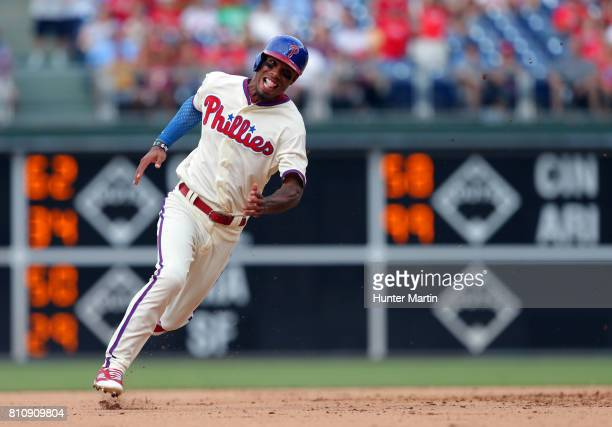 Nick Williams of the Philadelphia Phillies runs to third base in the seventh inning during a game against the San Diego Padres at Citizens Bank Park...
