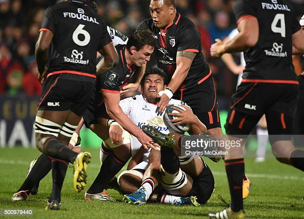 Nick Williams of Ulster is tackled by the Toulouse defence during the European Champions Cup Pool 1 rugby game at Kingspan Stadium on December 11...