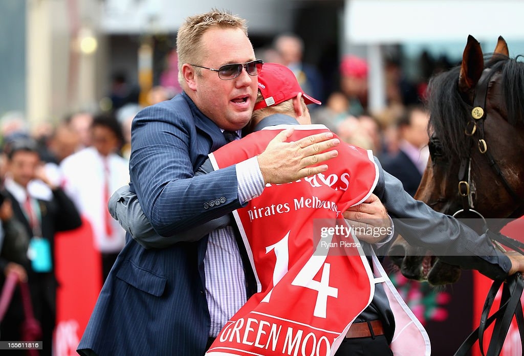 Nick Williams, owner of Green Moon and son of Lloyd Williams celebrates after winning the Emirates Melbourne Cup race during 2012 Melbourne Cup Day at Flemington Racecourse on November 6, 2012 in Melbourne, Australia.