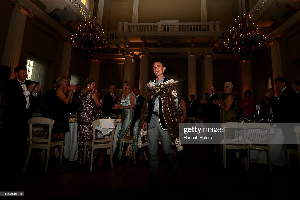 Nick Willis of New Zealand is announced as the flagbearer for the opening ceremony during the NZOC Governor General's Gala Dinner ahead of the London 2012 Olympic Games at Banqueting House, Whitehall on July 26, 2012 in London, England.
