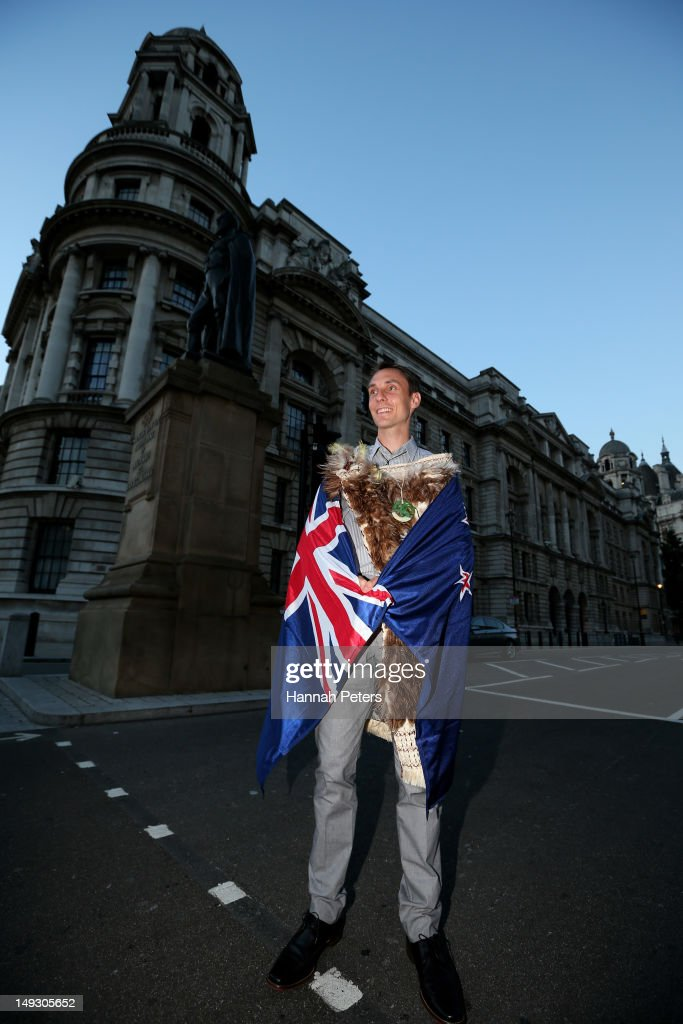 Nick Willis of New Zealand poses on Whitehall after he was announced as the flagbearer for the opening ceremony during the NZOC Governor General's Gala Dinner ahead of the London 2012 Olympic Games at Banqueting House, Whitehall on July 26, 2012 in London, England.