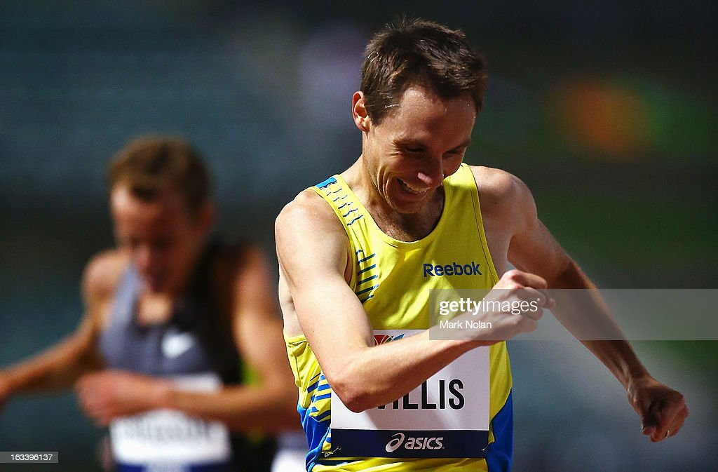 Nick Willis of New Zealand reacts after winning the Mens 1500 metres during the Sydney Track Classic at Sydney Olympic Park Sports Centre on March 9, 2013 in Sydney, Australia.