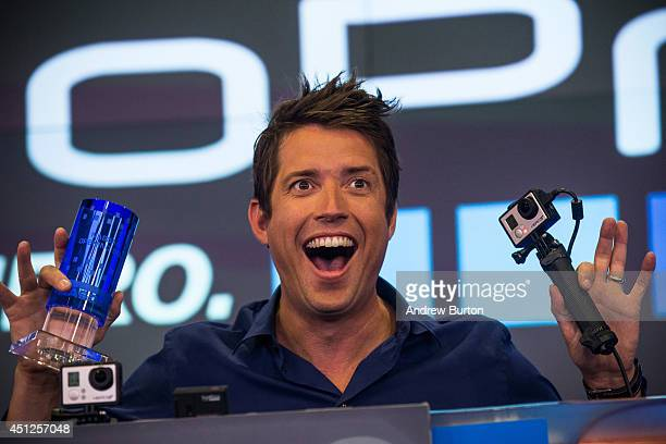 Nick Woodman founder and CEO of GoPro speaks during the company's initial public offering at the Nasdaq Stock Exchange on June 26 2014 in New York...