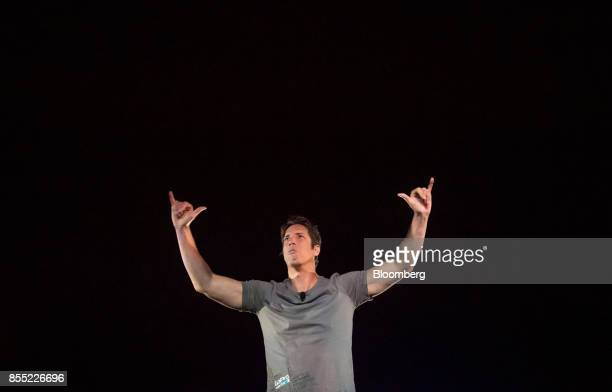 Nick Woodman founder and chief executive officer of GoPro Inc gestures while speaking during an event in San Francisco California US on Thursday Sept...