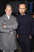 Nick Wooster and designer Carlos Campos attend the Carlos Campos Presentation during MercedesBenz Fashion Week Fall 2015 at Industria Studios on...