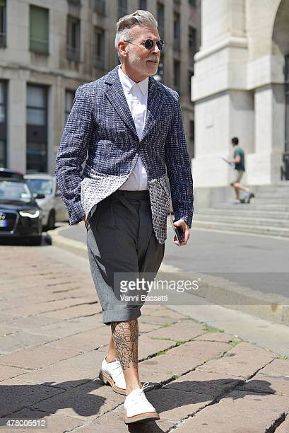 Nick Wooster arrives at the Ferragamo show on June 21 2015 in Milan Italy