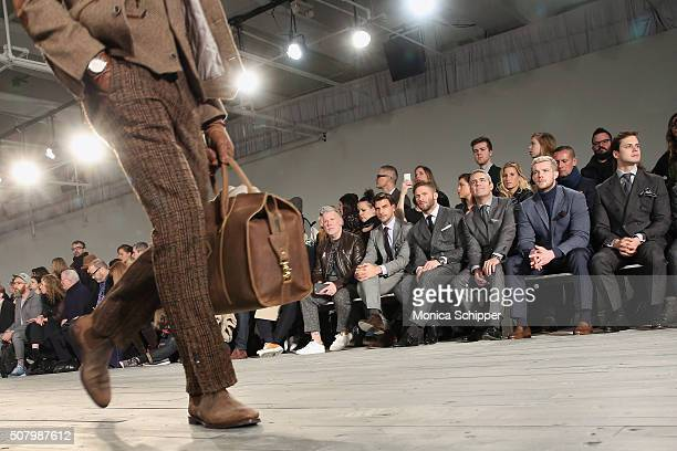 Nick Wooster Johannes Huebl Julian Edelman Andy Cohen Russell Tovey and Jake Robinson attend the Joseph Abboud fashion show during New York Fashion...