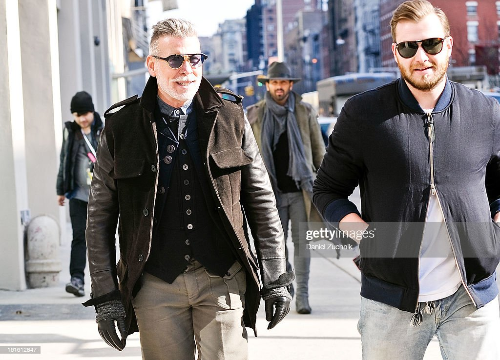 Nick Wooster(L) seen arriving to the Perry Ellis by Duckie Brown show on February 12, 2013 in New York City.