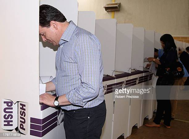 Nick Xenophon Independent senator for SA prepares to cast his vote in the electorate of Sturt on election day on September 7 2013 in Adelaide...
