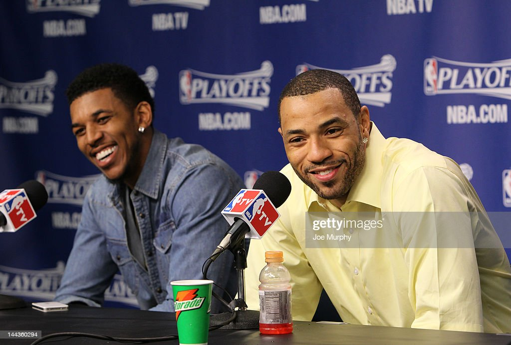 Nick Young #11 and Kenyon Martin #2 of the Los Angeles Clippers speak to the media after their team defeated the Memphis Grizzlies in Game Seven of the Western Conference Quarterfinals during the 2012 NBA Playoffs on May 13, 2012 at FedExForum in Memphis, Tennessee.