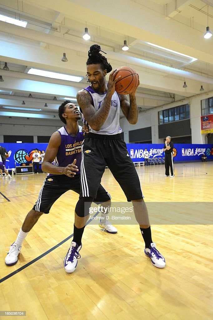 Nick Young guard Jordan Hill of the Los Angeles Lakers during practice as part of the 2013 Global Games on October 17 2013 at the Oriental Sports...