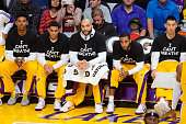 Nick Young Jordan Clarkson Carlos Boozer Wayne Ellington and Jeremy Lin wear an 'I Can't Breathe' tshirt to protest the death of Eric Garner at a...