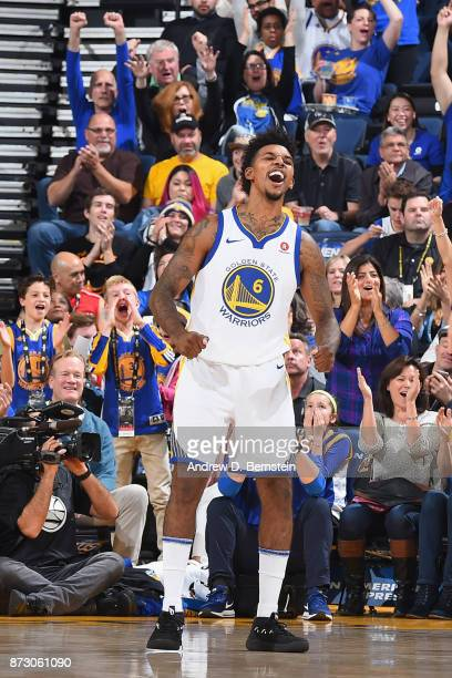 Nick Young of the Golden State Warriors celebrates during the game against the Philadelphia 76ers on November 11 2017 at ORACLE Arena in Oakland...