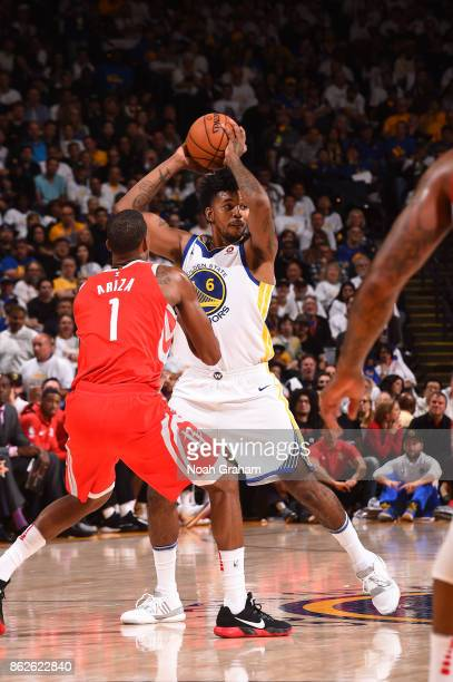 Nick Young of the Golden State Warriors handles the ball against the Houston Rockets on October 17 2017 at ORACLE Arena in Oakland California NOTE TO...