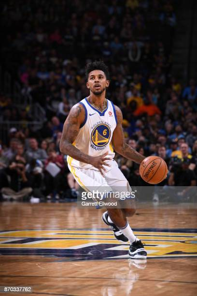 Nick Young of the Golden State Warriors handles the ball against the Denver Nuggets on November 4 2017 at the Pepsi Center in Denver Colorado NOTE TO...