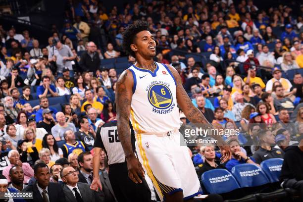Nick Young of the Golden State Warriors looks on during the game against the Denver Nuggets during a preseason game on September 30 2017 at ORACLE...