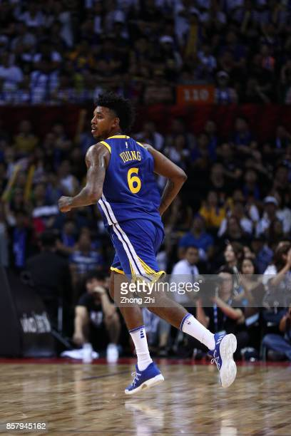 Nick Young of the Golden State Warriors looks on during the game between the Minnesota Timberwolves and the Golden State Warriors as part of 2017 NBA...