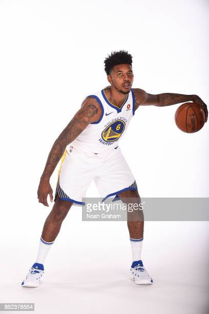 Nick Young of the Golden State Warriors poses for a portrait during media day on September 22 2017 at Oracle Arena in Oakland California NOTE TO USER...